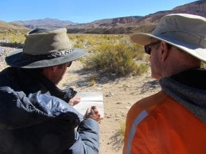 Luis Gibert (left) and Alan Deino (right) sketching out stratigraphic relationships at Quebrada Honda. Photo by D. Croft. Reuse permitted under CC BY-NC-SA 2.0.